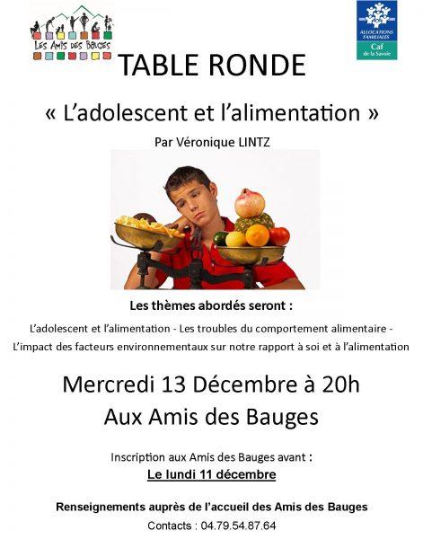 """Table ronde """"l'alimentation et l'adolescent"""""""