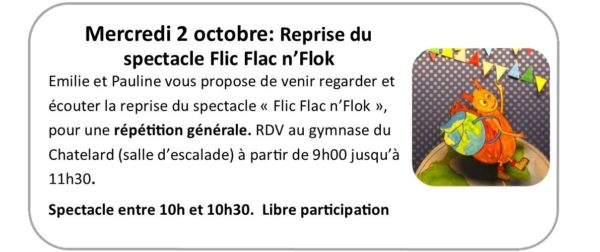 Mercredi 2 octobre : reprise du spectacle «Flic Flac n'Flok»